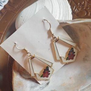 Vintage Cloisonne Hook Earrings